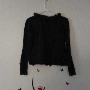 Fur Lined Neck, Long Sleeved Blouse